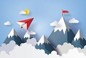 illustration of nature landscape and concept of business,paper plane flying on sky with cloud and mountian.design by paper art and craft style
