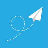 Paper airplane with flying trail. Vector illustration