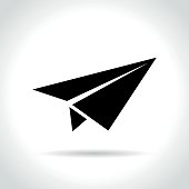 Illustration of paper plane icon on white background