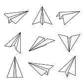 Paper plane outline. Glider, made out of folded paper, toy aircraft for easy flight. Vector line art illustration isolated on white background