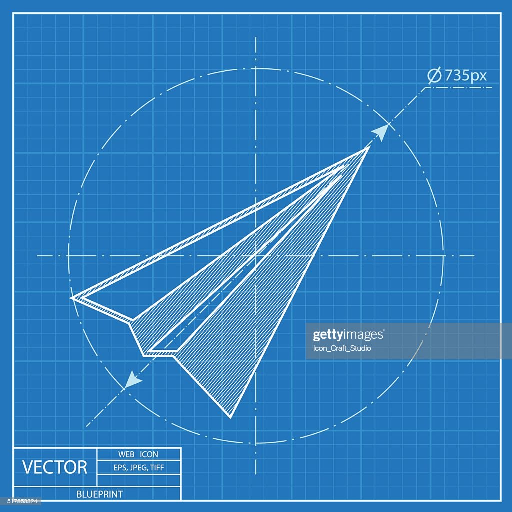 Paper plane sign airplane symbol travel vector blueprint icon paper plane sign airplane symbol travel vector blueprint icon vector art malvernweather Gallery