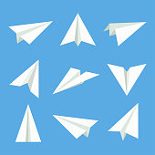 Paper plane vector set. Paper plane in flat style. Paper plane icon. Paper plane isolated from background. Origami plane collection. Handmade paper plane.