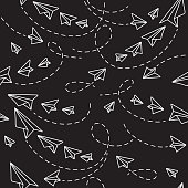 Paper Planes on Black Background Seamless Pattern