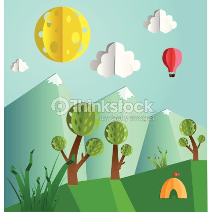 Paper Pop Up Landscape Vector Art