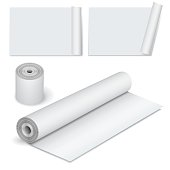 Collection of various scroll paper isolated on white. Vector illustration