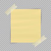 Paper sheet on translucent sticky tape with transparent shadow isolated on checkered background. Empty yellow note template for your design. Vector illustration.