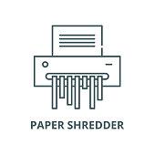 Paper shredder vector line icon, outline concept, linear sign