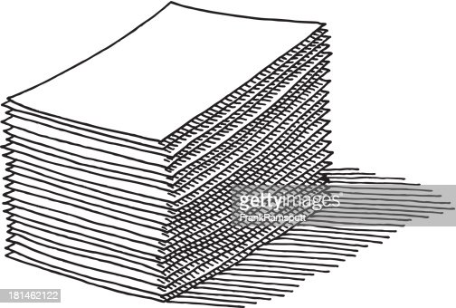 Paper Stack Drawing : Vector Art