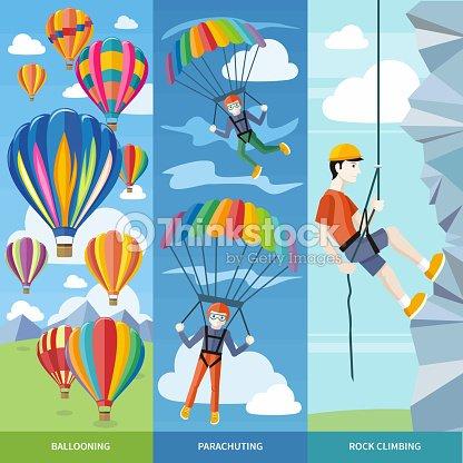 Parachutisme Et Vol En Montgolfière Et Escalade Clipart vectoriel ...