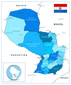 Paraguay map in colors of blue. Highly detailed vector illustration.