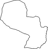 Paraguay map of black contour curves on white background of vector illustration