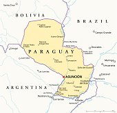 Political map of Paraguay with capital Asuncion, national borders, most important cities, rivers and lakes. Illustration with English labeling and scaling.