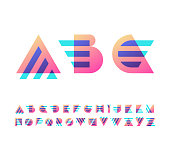 Parallel lines and color gradient blocks' latin font, graphical decorative type.