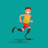 Paralympic athlete runs on prostheses. Vector illustration flat design