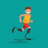 Paralympic athlete runs on prostheses. Vector illustration flat design