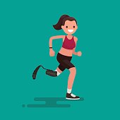 Paralympic Athlete woman running on the prosthesis. Vector illustration of a flat design