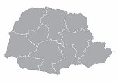 A gray map of Parana State divided into regions, Brazil