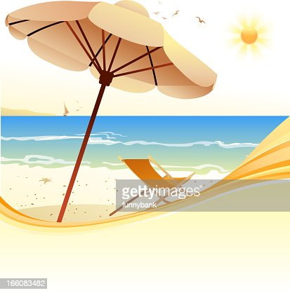 parasol on beach : Vector Art
