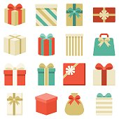 parcel, presents and colorful gift box collection, for christmas and new year, flat design vector