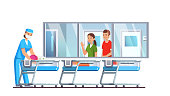 Newborn care hospital nursery ward interior with babies in cribs. Mother and father parents looking through window. Doctor lying child after examination in post delivery room. Flat vector illustration