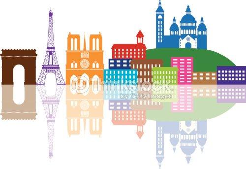 Paris City Skyline Silhouette Color Vector Illustration Art