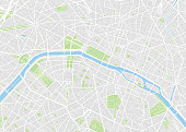 Paris colored vector map