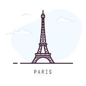 Paris city line style illustration. Famous Eiffel tower in Paris, France. Architecture city symbol of France. Outline building vector illustration. Sky clouds on background. Travel and tourism banner.