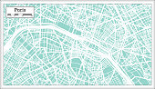 Paris France City Map in Retro Style. Outline Map. Vector Illustration.