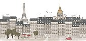 Seamless banner of Paris's skyline, hand drawn and digitally colored ink illustration