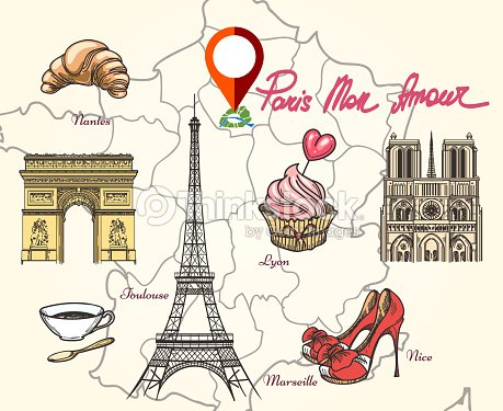 Paris France Symbols Vector Art Thinkstock