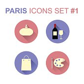 Paris icons set. France rounded icons with long shadow. Vector illustration.