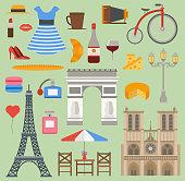 Paris icons vector set cuisine traditional modern France culture symbols. Europe Eiffel Paris icons fashion wine building design architecture. Famous travel love Paris icons monument capital landmark.