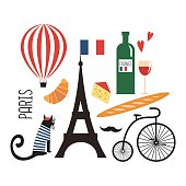 Cute cartoon french culture symbols: wine, Eiffel tower, baguette, retro bicycle, mustache, cheese. Funny Paris illustration. Set of french symbols on white background.