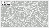 Paris Map in Retro Style. Hand Drawn. Vector Illustration.