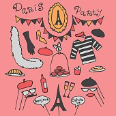 Doodle set of Paris party ideas, france elements
