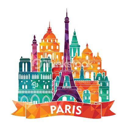 Paris Skyline Vector Illustration Art