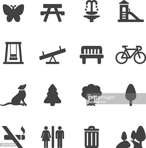 Parque al aire libre y la silueta de iconos/EPS10