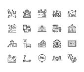 Park flat line icons set. Botanical garden, carousel, ferris wheel, museum, excursion, pond, street food, fountain vector illustrations. Thin signs for outdoors. Pixel perfect 64x64. Editable Strokes