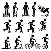 Vector set of park riding vehicles and equipment that includes electric scooter, self-balancing 2 wheels, inline skating, roller skates, ice skating, skateboards, scooter, breaststroke scooter, bicycl