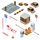 Parking Elements Concept 3d Icon Set Isometric View Include of Car, Sign, Place and Barrier. Vector illustration of Icons
