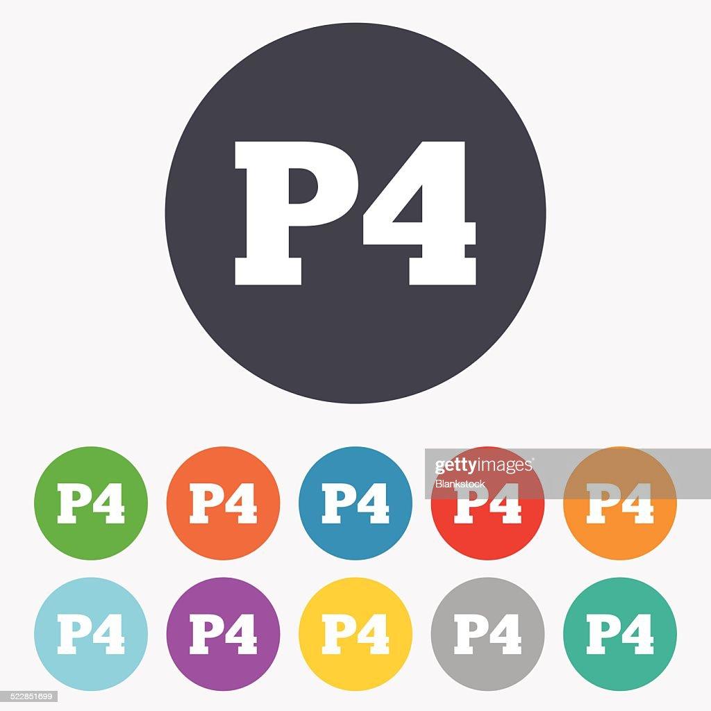 Parking Fourth Floor Icon. Car Parking P4 Symbol : Vector Art