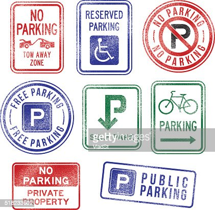 Parking Signs Rubber Stamps Vector Art | Getty Images