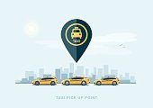 Vector illustration of yellow taxi cars parking along the city street in cartoon style. Hatchback, station wagon and sedan standing in a row with taxi pickup point sign. City skyscrapers skyline in ba