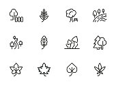 Parks line icon set. Tree, leaf, plant, flora. Nature concept. Can be used for topics like hiking, forest, country