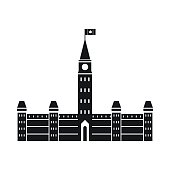 Parliament Buildings, Ottawa icon in simple style isolated on white background