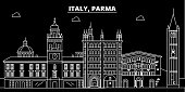 Parma silhouette skyline. Italy - Parma vector city, italian linear architecture, buildings. Parma line travel illustration, landmarks. Italy flat icon, italian outline design banner