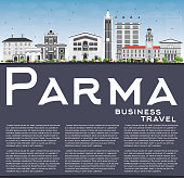Parma Skyline with Gray Buildings, Blue Sky and Copy Space. Vector Illustration. Business Travel and Tourism Concept with Historic Buildings. Image for Presentation Banner Placard and Web Site.