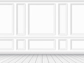 Classic interior of the living room. Parquet floor and white wall decorated with moulding panels. Vector detailed realistic illustration.