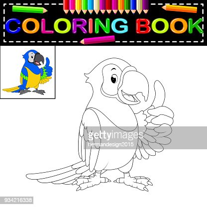parrot coloring book : stock vector