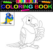 illustration of parrot coloring book